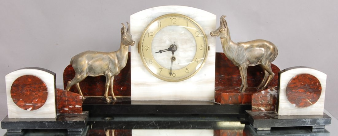 13: French Art Deco style 3 pc. Marble Clock Set