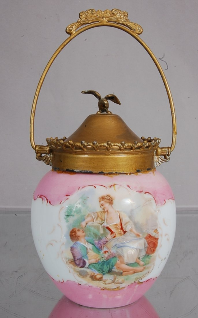 9: Victorian Biscuit Jar with Roman Scenes on Front & B
