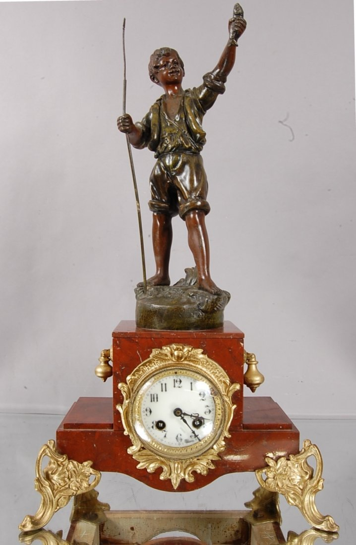 17: French Louis VL Style Figural Mantel Clock