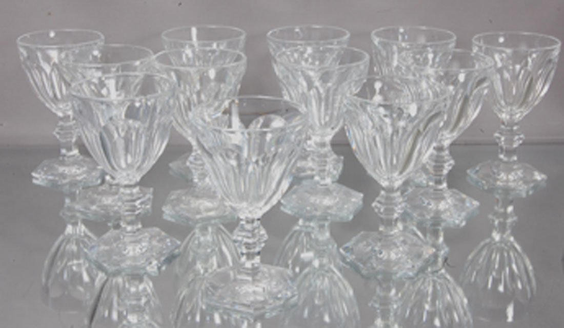 12 Baccarat Crystal Sherry Glasses