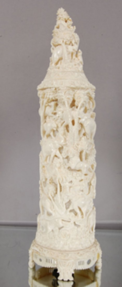 Chinese Carved Ivory lamp