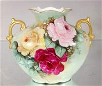 2 Handled hand painted vase