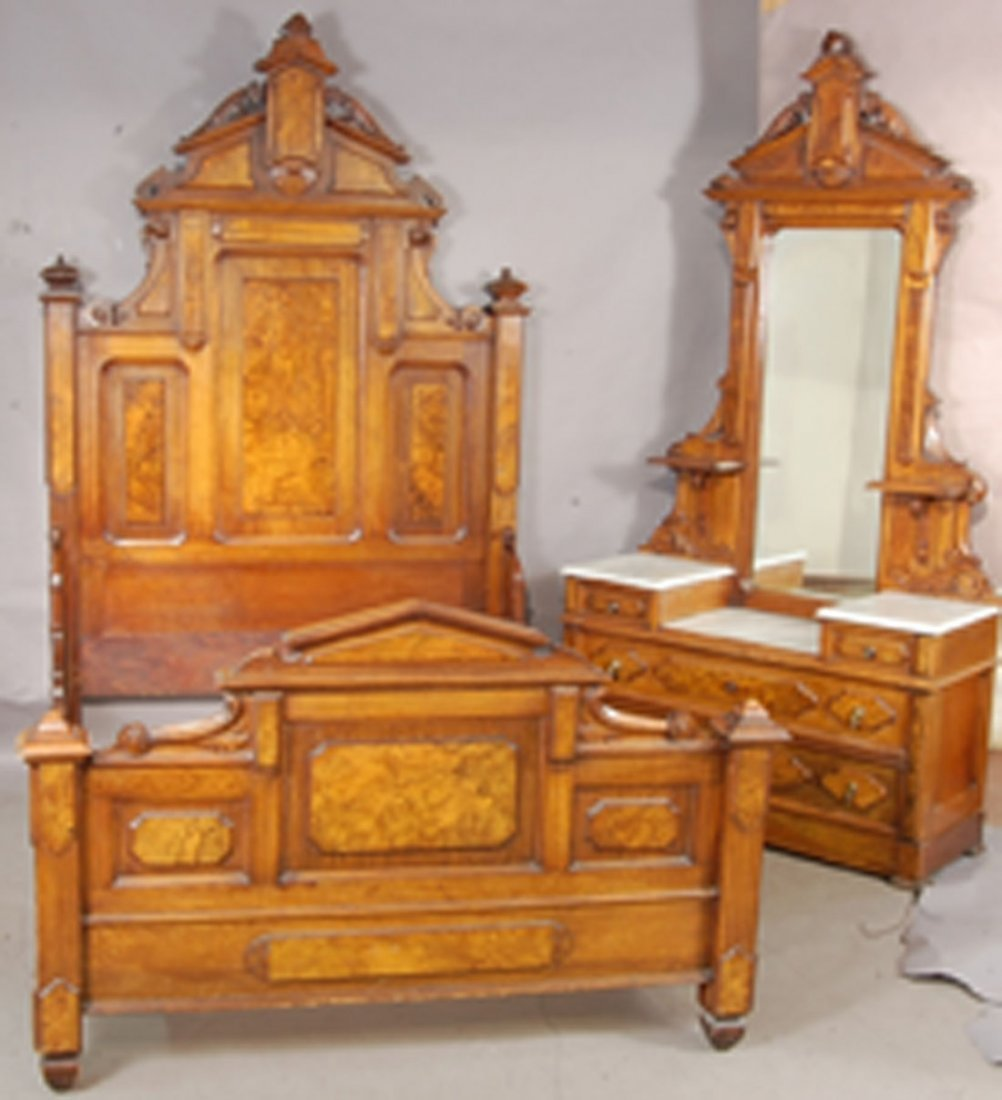 Renaissance Victorian Walnut 2 pc. Marble top Bedroom S