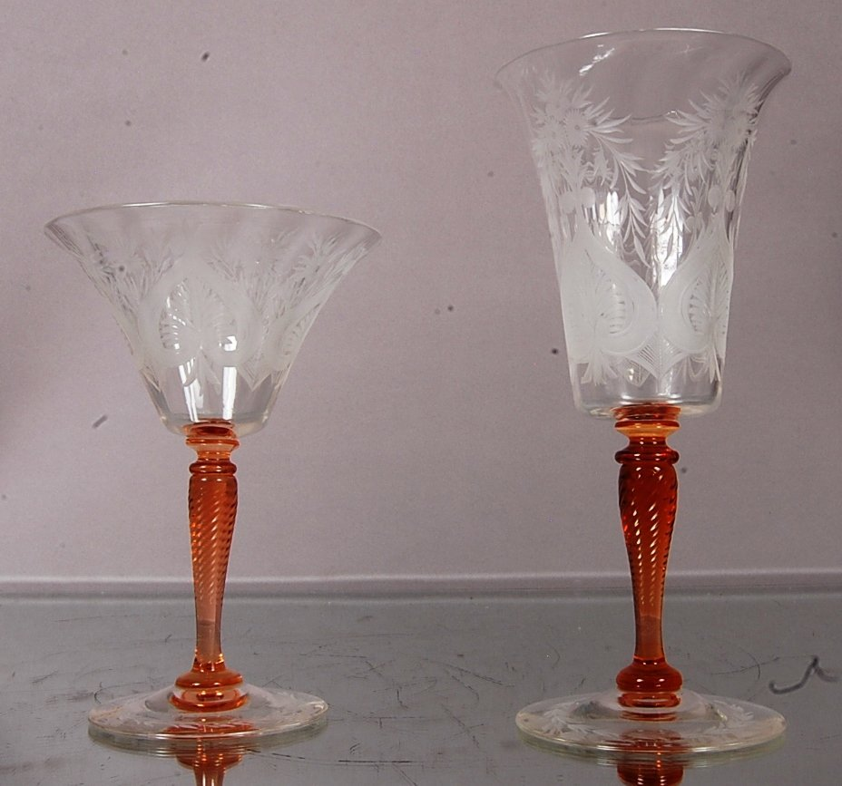 2 Stueben wine glasses