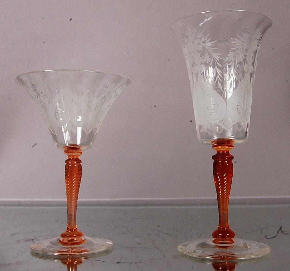 2 Stueben wine glasses