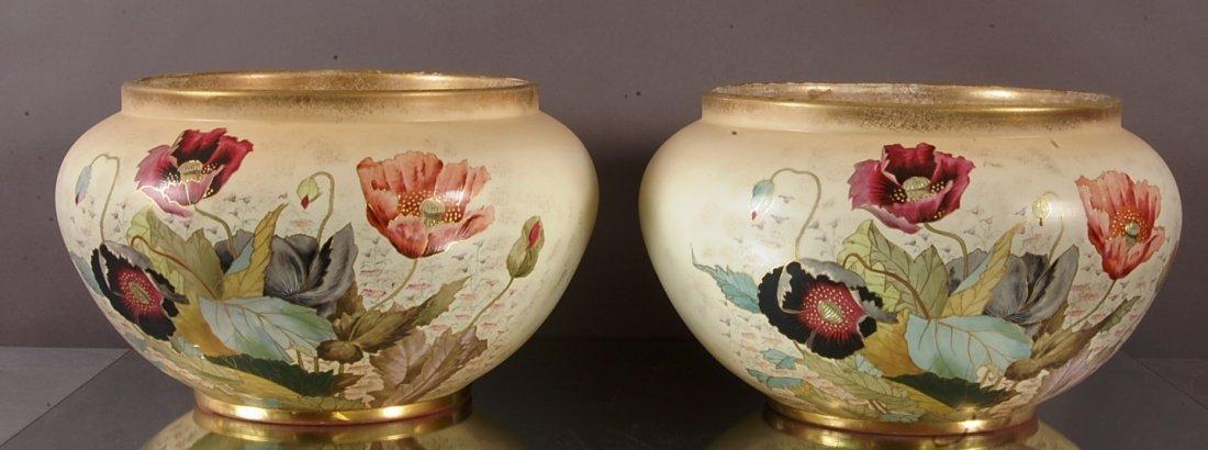 Pair of Art Noveau style hand decorated jardinières