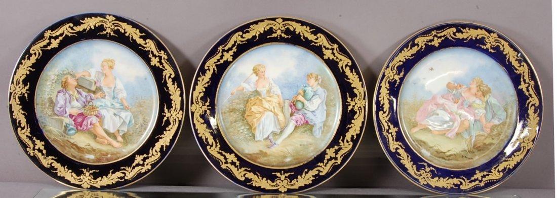 3 French Serves Boucher porcelain cabinet plates
