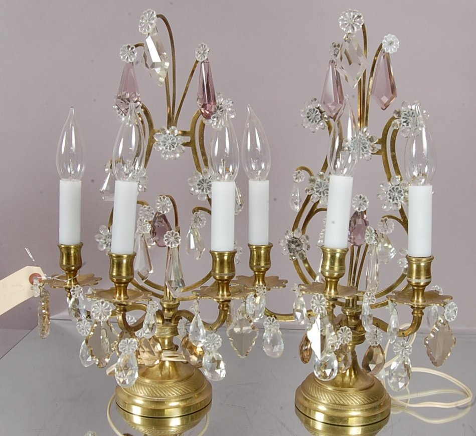 Pair of French style Louis XVI bronze & crystal lamps.