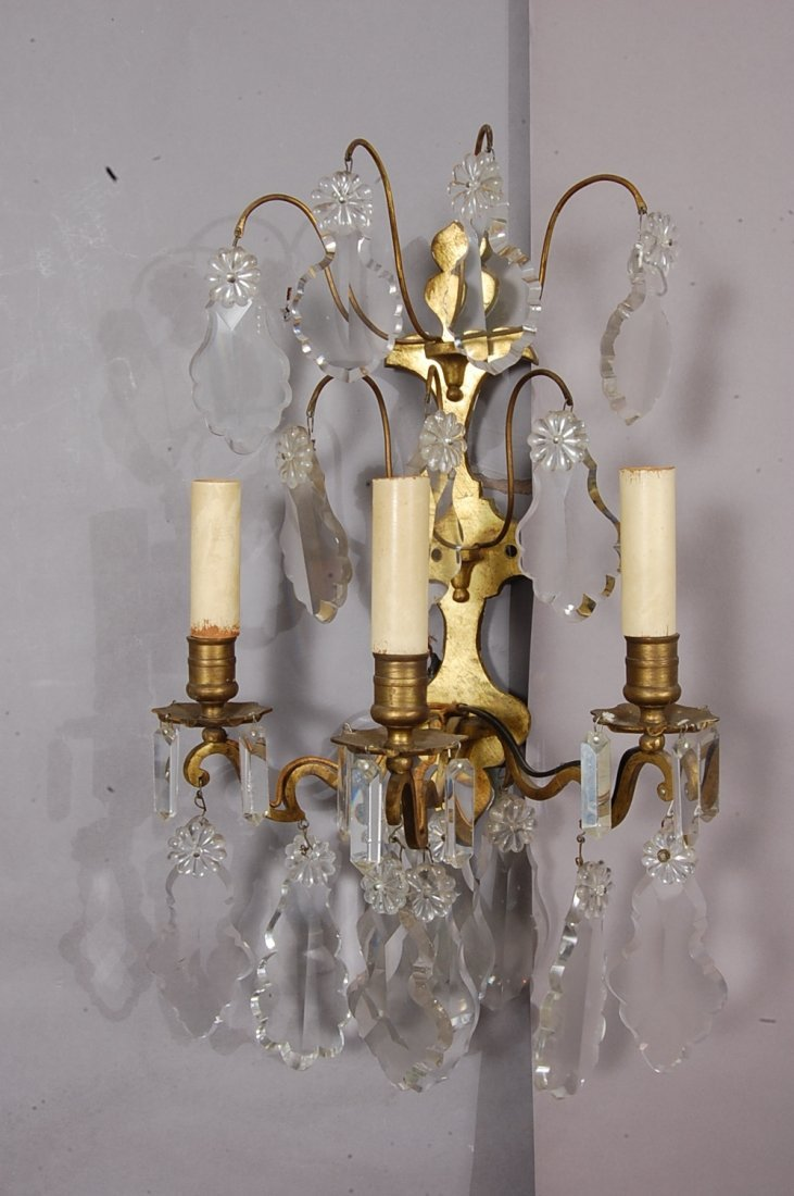 Pair of French Bronze & crystal sconces