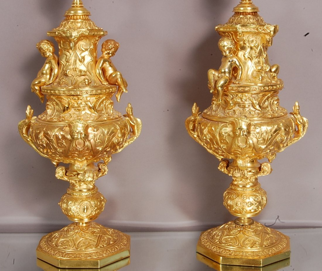 Pair of Italian Renaissance style Bronze lamps