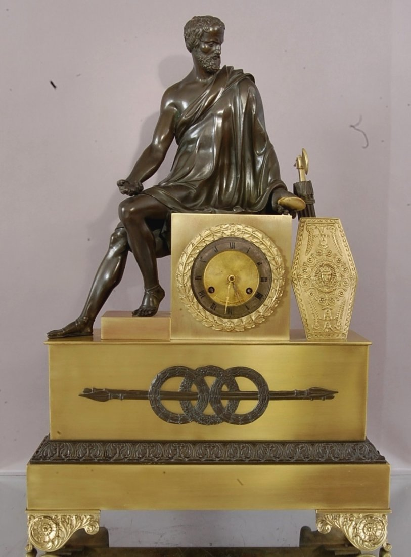 French Leparte Figural bronze clock