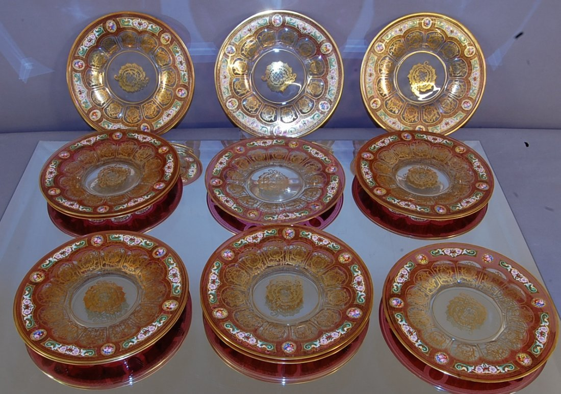 Decorated plates.  Set of 12