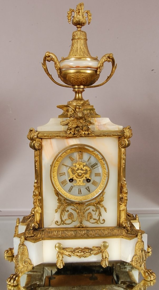 French Louis XVI Dore bronze & onyx mantel clock