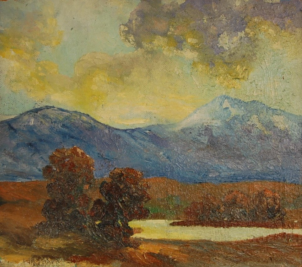 Mountain Scape Oil on board by Red Robin