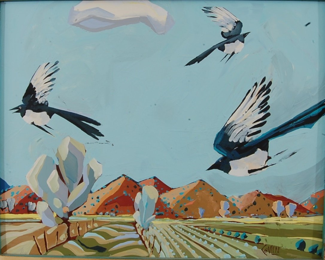 Birds in Flight & Still Life, Oil on Board painted on