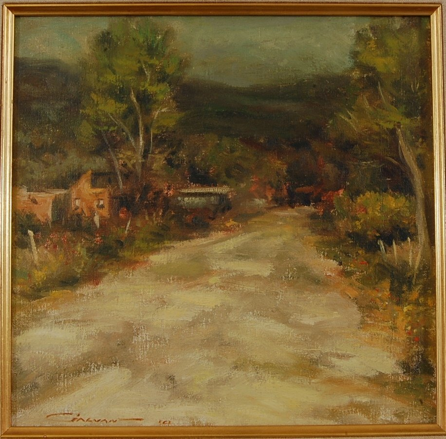 Taos Pueblo Road, Oil on Board by John M. Galvan