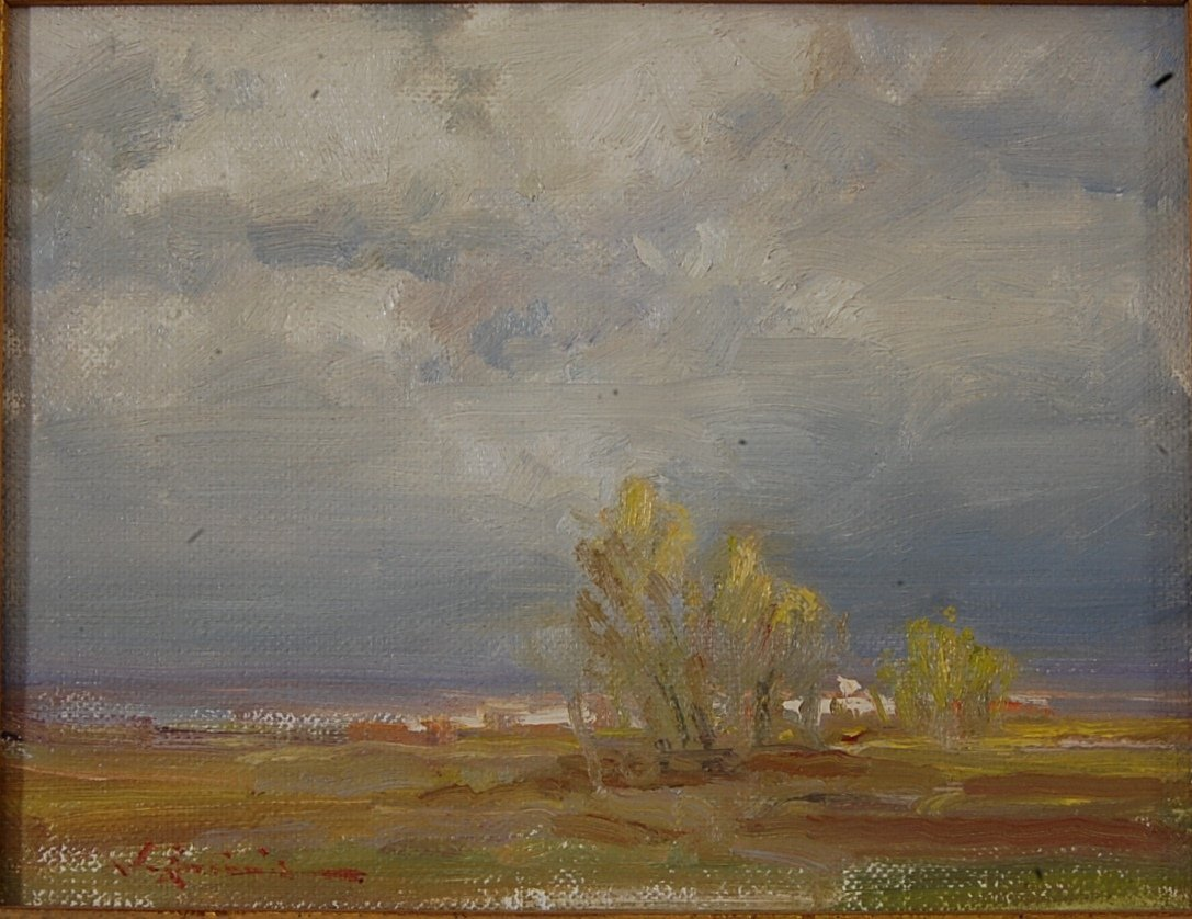 Cloud Study oil on board by John Encinias