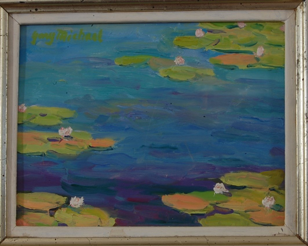 Water Lilies oil on board by Gary Michael