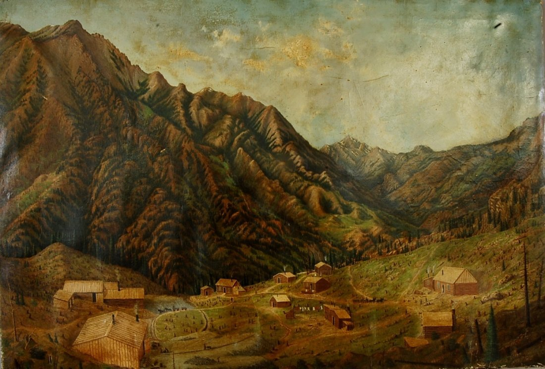 Mountain Village Scene oil on canvas