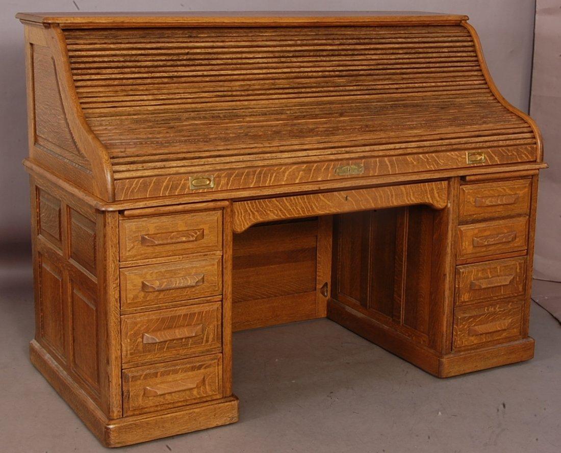 """Leopold 66"""" High S Oak Roll Top Desk"""