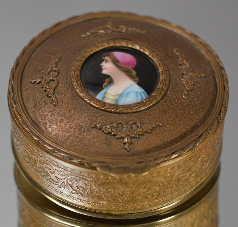 French Louis XIV style covered dresser box.