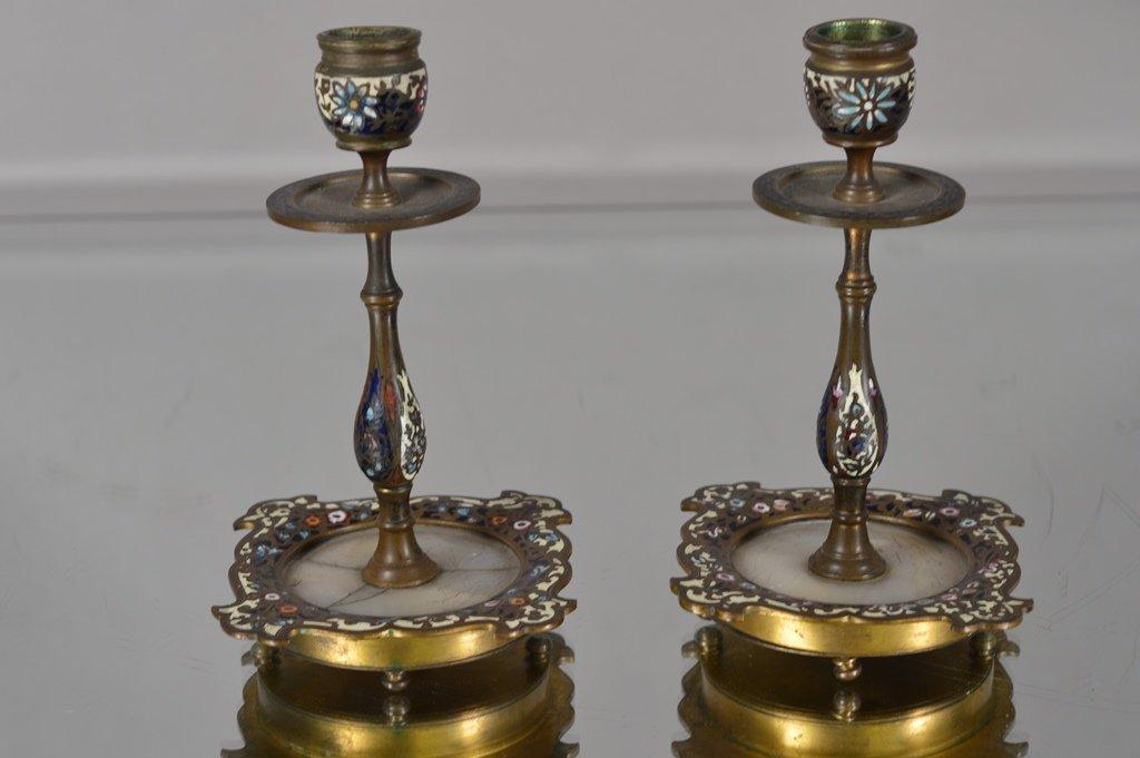 Pair of Bronze Champlevé  candle sticks
