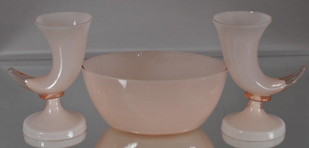 Art Glass Set.  Pink cased glass