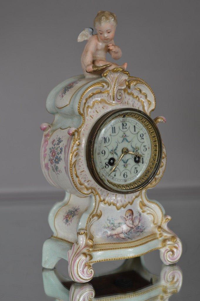 French Louis XV style Porcelain Mantel clock.