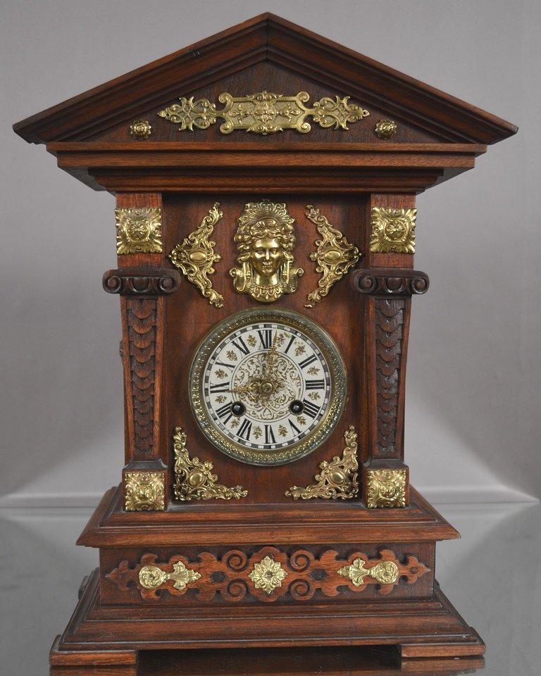 German Walnut Mantel Clock