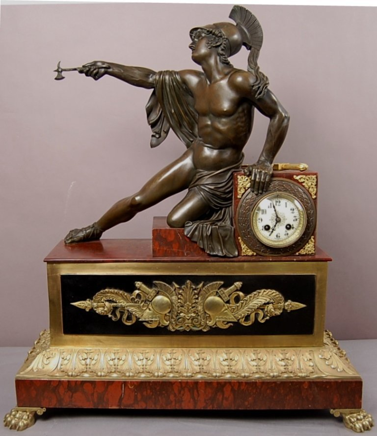 French Louis XIV style figural bronze and marble mantel