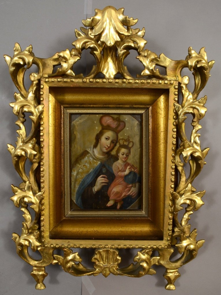 Icon Madonna and Child on tin
