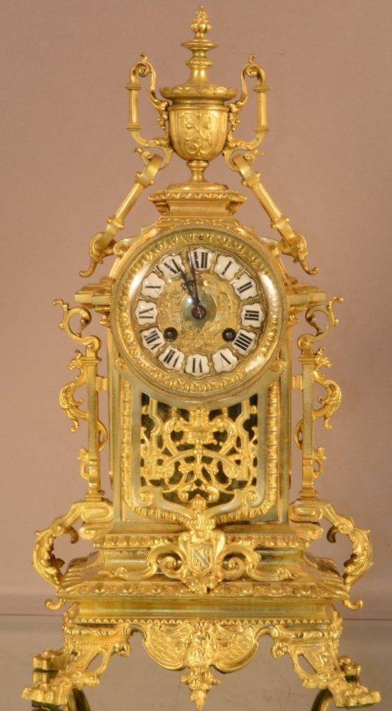 French Dore Bronze Louis XVII Mantel Clock
