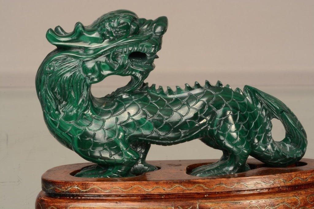 Chinese malachite carving of crawling dragon
