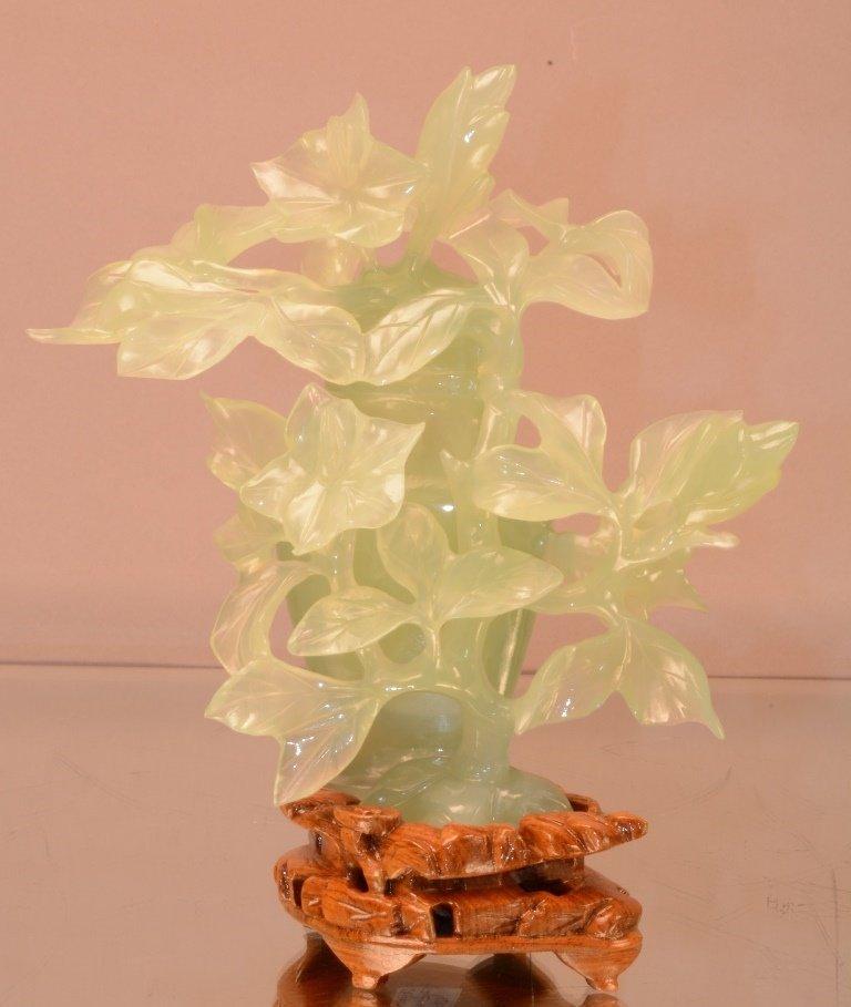 Chinese Serpentine Jade 2 pc. Vase