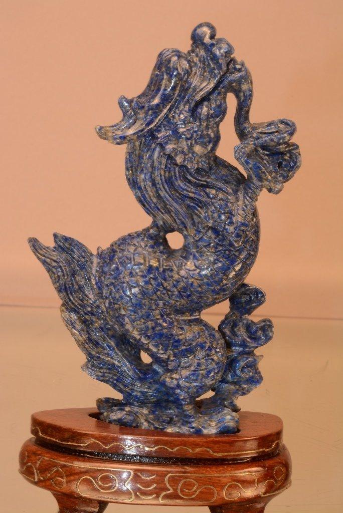 Chinese Lapis Lazoli stone Dragon statue