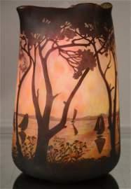 French Daum Nancy cameo cut scenic art glass vase.