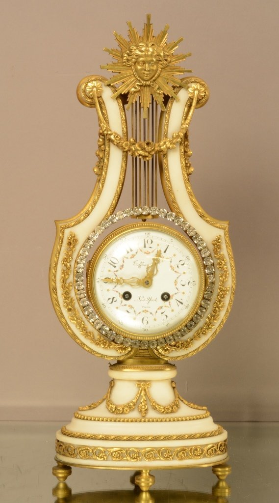 Tiffany Louis XIV Bronze & Marble Clock