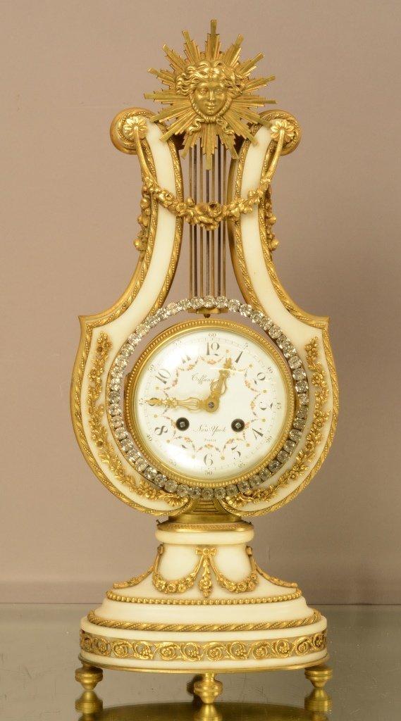 Tiffany Louis XIV Bronze & Marble Clock