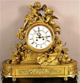 Massive French Louis XV Style Figural Mantel Clock