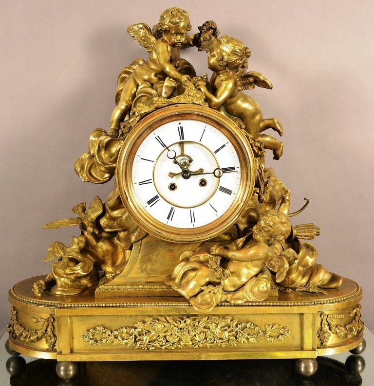 Massive French Louis XV Style Figural Mantel Clock