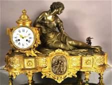 French Dore Gilt Bronze Lady Mantel Clock
