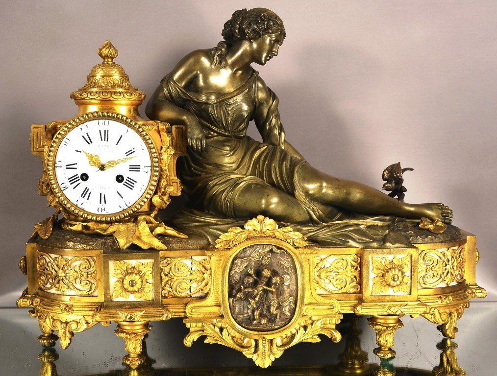 French Dore Gilt Bronze Lady Mantel Clock