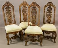 4 Italian Renaissance Revival Carved Dining Chairs