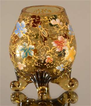 Moser Style Enameled Vase