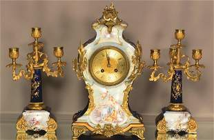 French Louis XV Style 3 Piece Clock Set