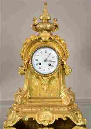 French Louis XV Style Doré Bronze Mantel Clock