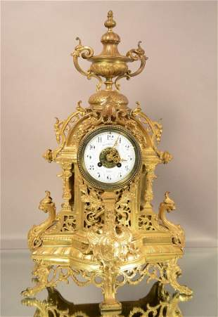 French Louis XIV Style Bronze Mantel Clock