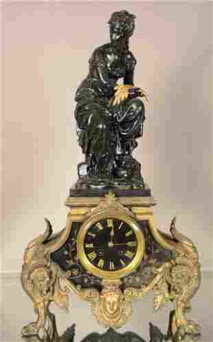 French Louis XVI Style Figural Mantel Clock