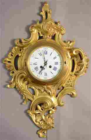 French Louis XV Style Dore Bronze Cartel Clock