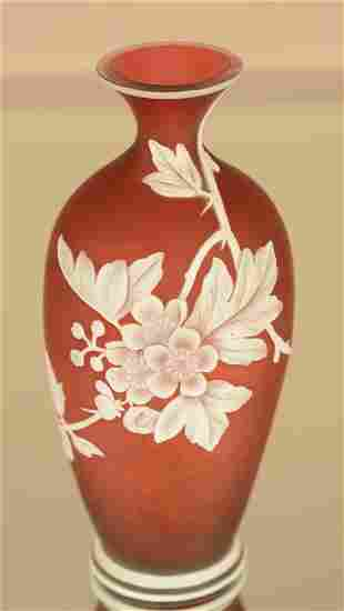 Webb Cameo Style Artglass Red Stain Vase
